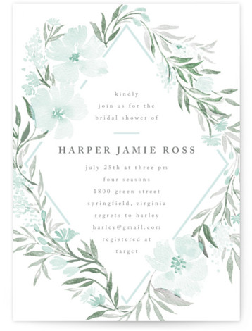 This is a botanical, green Bridal Shower Invitations by Qing Ji called Poetic Blue with Standard printing on Signature in Classic Flat Card format. This beautiful and modern design features hand painted watercolor flowers in various shades of blue.