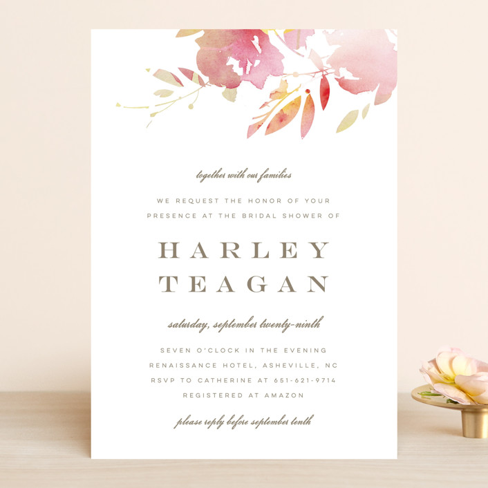 """""""Stately Florals"""" - Bridal Shower Invitations in Poppy by Lori Wemple."""