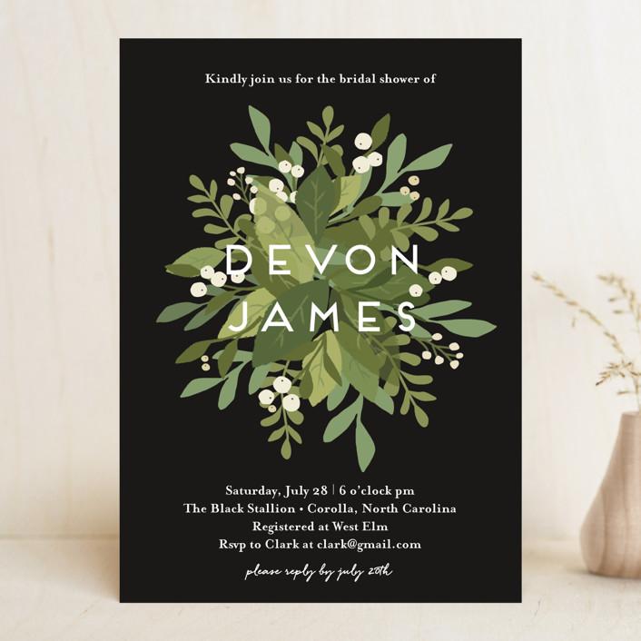 """Laurel of Greens"" - Bridal Shower Invitations in Midnight by Jennifer Wick."