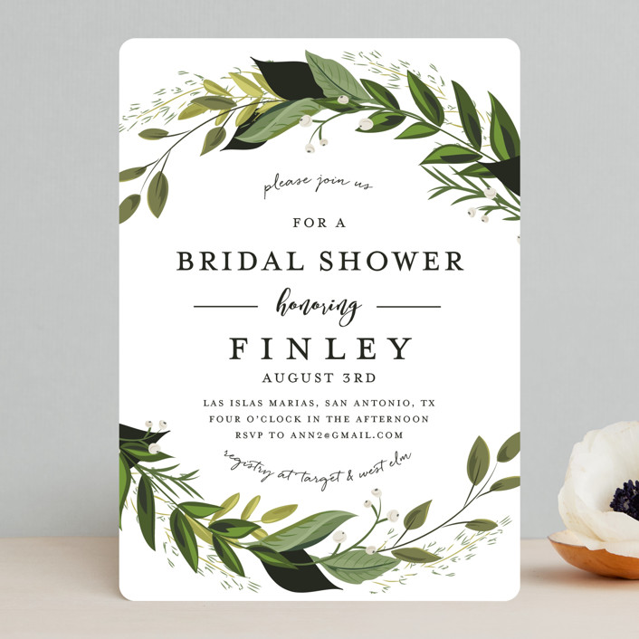 """""""Vines of Green"""" - Bridal Shower Invitations in Fern by Susan Moyal."""