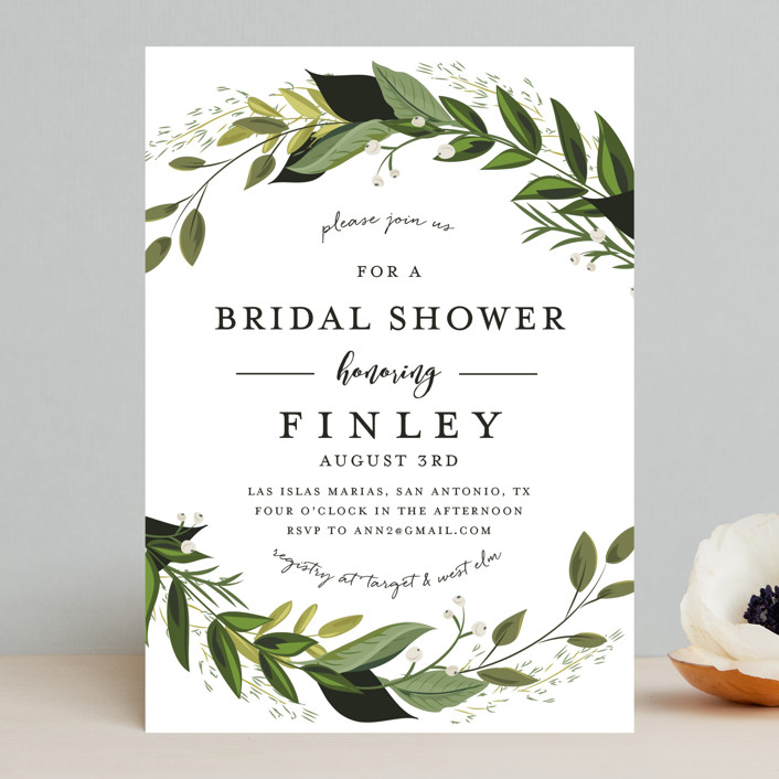 """Vines of Green"" - Bridal Shower Invitations in Fern by Susan Moyal."