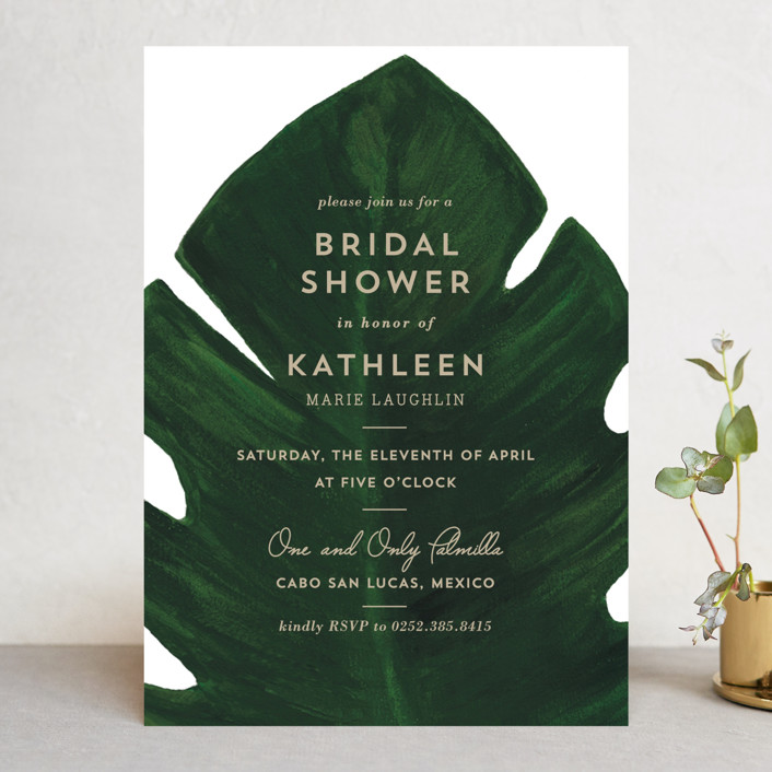 """""""Palm"""" - Bridal Shower Invitations in Classic Palm by Kaydi Bishop."""