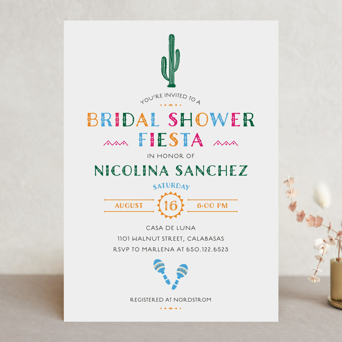 """fun fiesta"" - Bridal Shower Invitations in Confetti by Jennifer Lew."
