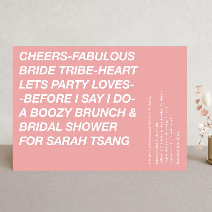 """Vogue"" - Bridal Shower Invitations in Flamingo by Jennifer Lew."