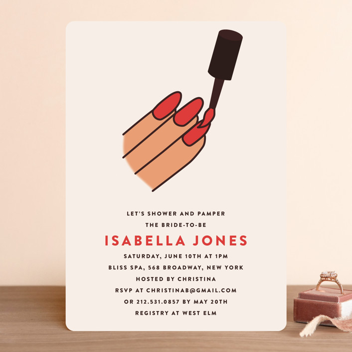 """""""polish"""" - Bridal Shower Invitations in Rouge by Jennifer Lew."""