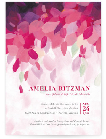 This is a purple Bridal Shower Invitations by Holly Whitcomb called Azalea with Standard printing on Signature in Classic Flat Card format. Abstract hand painted flowers flutter down in this colorful and feminine bridal shower invitation. Text layout is classic ...