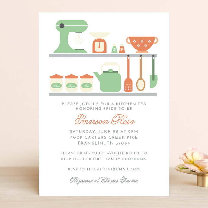 """""""A bridal kitchen tea"""" - Bridal Shower Invitations in Frost by Hudson Meet Rose."""