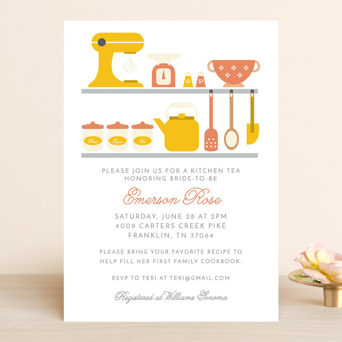 """A bridal kitchen tea"" - Bridal Shower Invitations in Frost by Hudson Meet Rose."