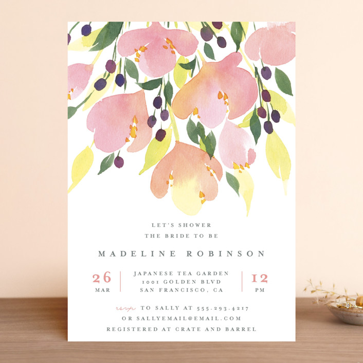 """""""Pink Blossoms"""" - Bridal Shower Invitations in Dusty Rose by Four Wet Feet Studio."""