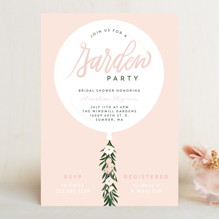 """Garden Balloon"" - Bridal Shower Invitations in Blush by Itsy Belle Studio."