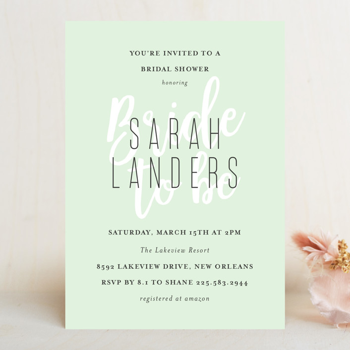 """""""Modern Bride"""" - Bridal Shower Invitations in Lime by Chasity Smith."""