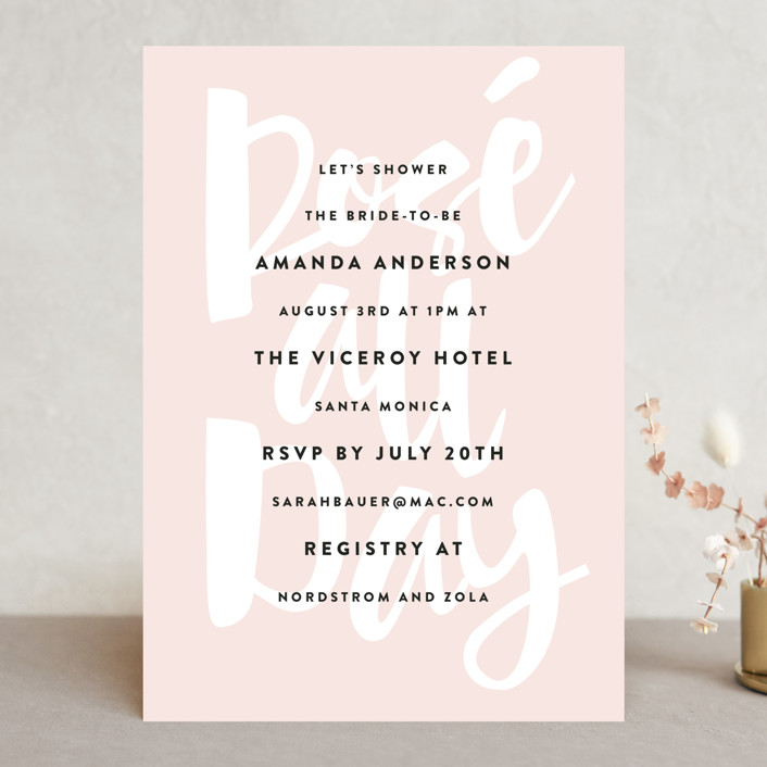 """Rose All Day"" - Bridal Shower Invitations in Cotton Candy by Roxy Cervantes."