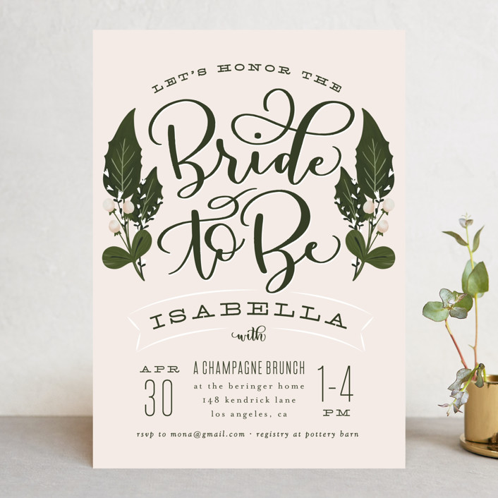 """""""Bride To Be"""" - Bridal Shower Invitations in Blush by Leah Bisch."""