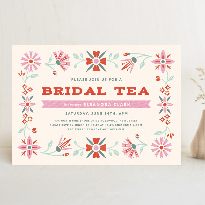 """Vintage Bridal Tea"" - Bridal Shower Invitations in Coral by Laura Moyer."