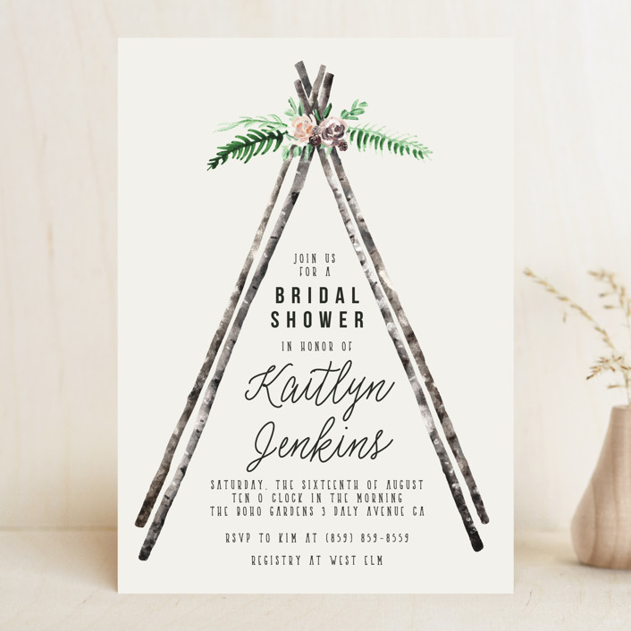 """Boho teepee"" - Bohemian Bridal Shower Invitations in Champagne by Cass Loh."