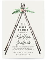 This is a beige bridal shower invitation by Cass Loh called Boho teepee with standard printing on signature in standard.