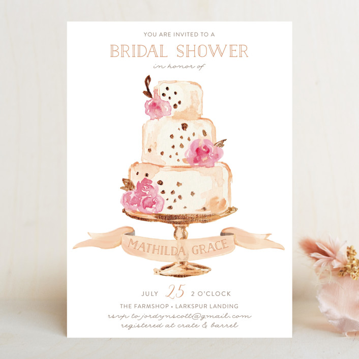 """Princess cake"" - Bridal Shower Invitations in Peach by Benita Crandall."