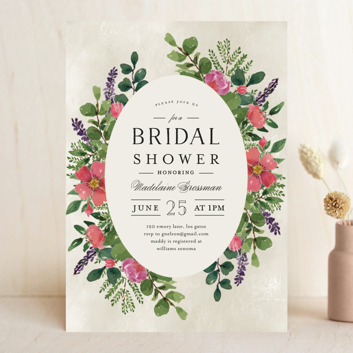 """Bridal Garden"" - Bridal Shower Invitations in Ecru by Chris Griffith."