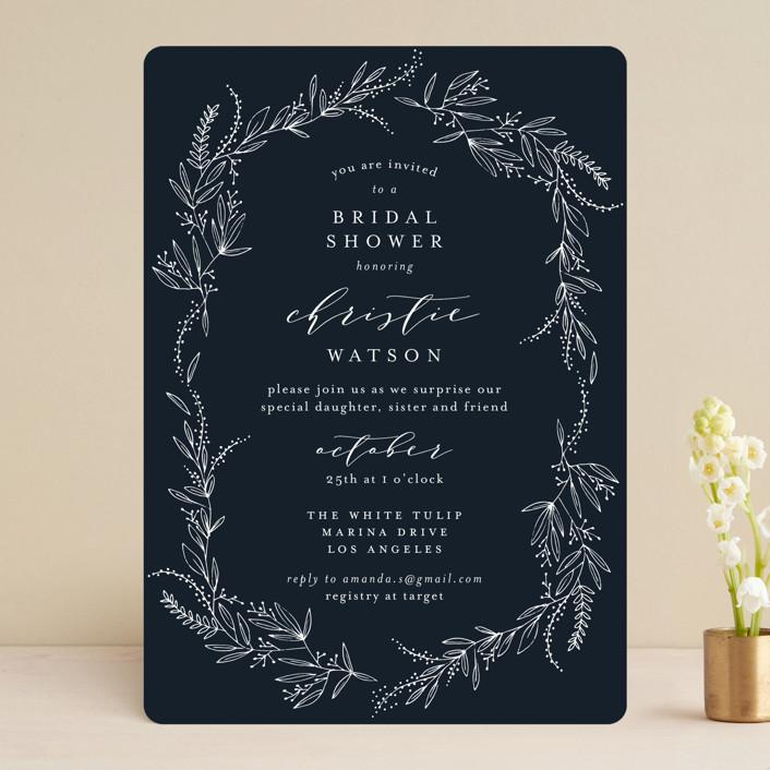 """""""dainty green bride"""" - Bridal Shower Invitations in Fresh by Phrosne Ras."""