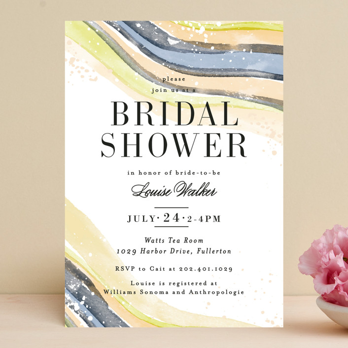 """Painted Layers Splash"" - Bridal Shower Invitations in Carnation by Alethea and Ruth."