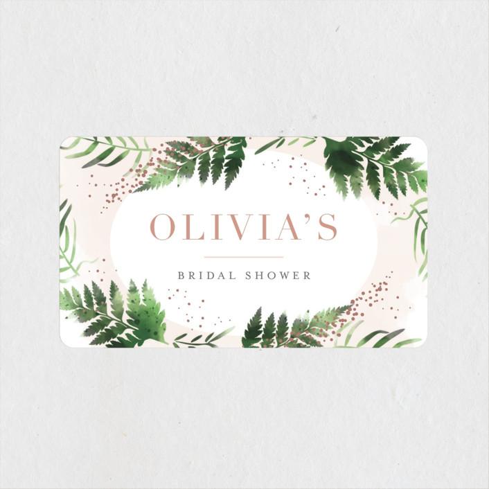 """Sparkling Ferns"" - Bridal Shower Stickers in Candy by Kristie Kern."