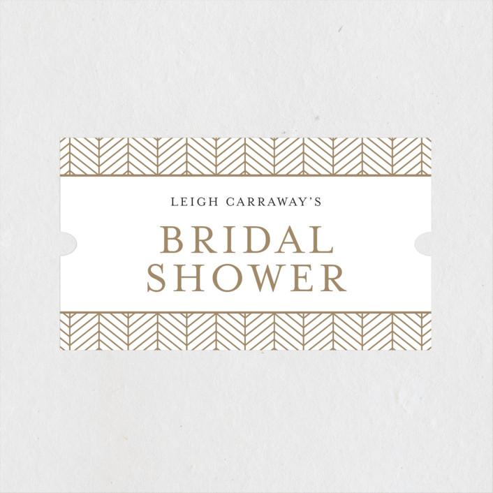 """Chevron"" - Bridal Shower Stickers in Flax by Melanie Kosuge."