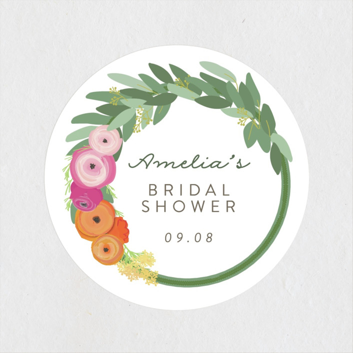 """Flower Crown"" - Bridal Shower Stickers in Brights by Itsy Belle Studio."