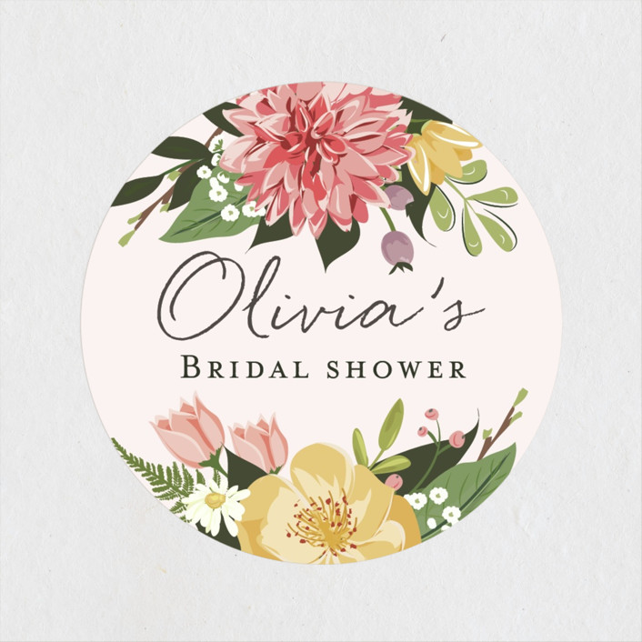 """Flowers & Greens"" - Bridal Shower Stickers in Blush by Susan Moyal."