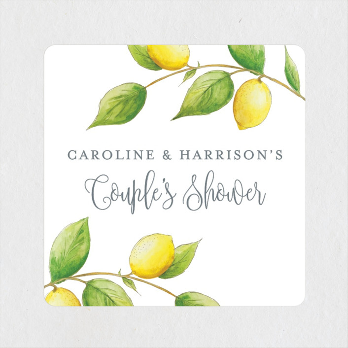 """Lemon Drop"" - Bridal Shower Stickers in Lemon by Erin Deegan."
