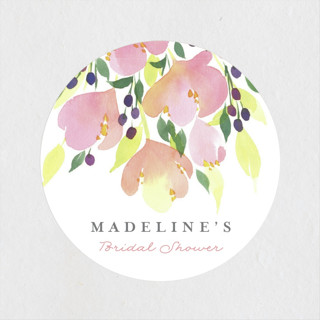 pink blossoms bridal shower stickers
