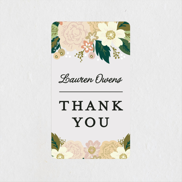 """Classic Floral"" - Bridal Shower Stickers in Spring Blush by Alethea and Ruth."
