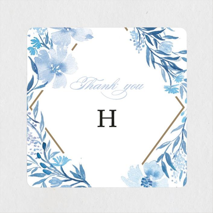 """Poetic Blue"" - Bridal Shower Stickers in Sky by Qing Ji."