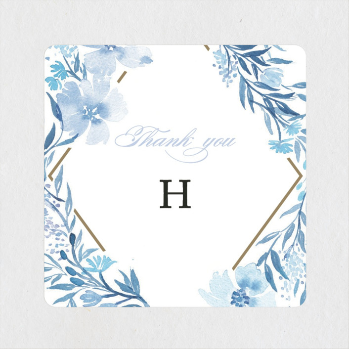 """Poetic Blue"" - Bridal Shower Stickers in Sky by Qing Ji."