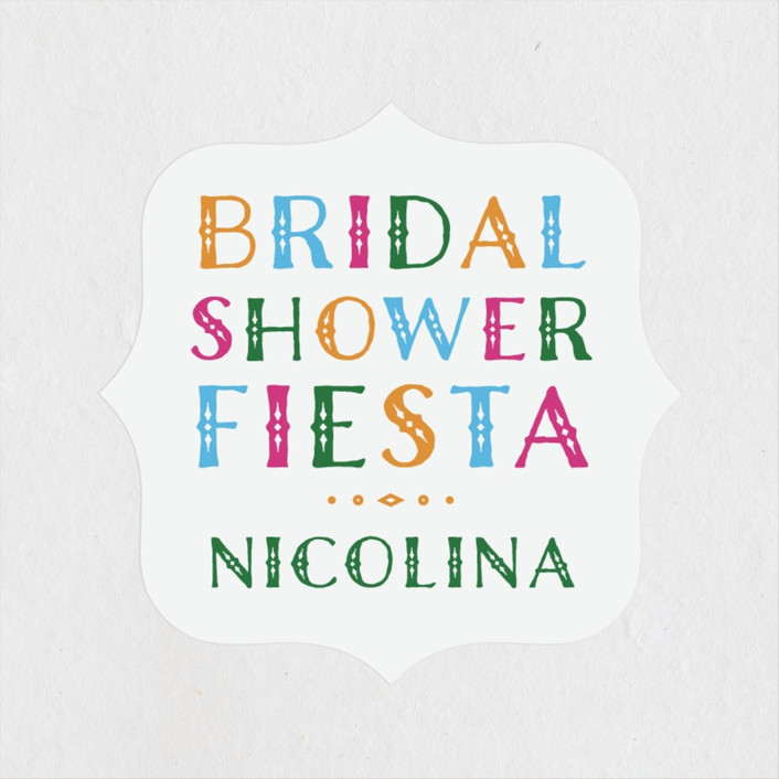 """fun fiesta"" - Bridal Shower Stickers in Confetti by Jennifer Lew."