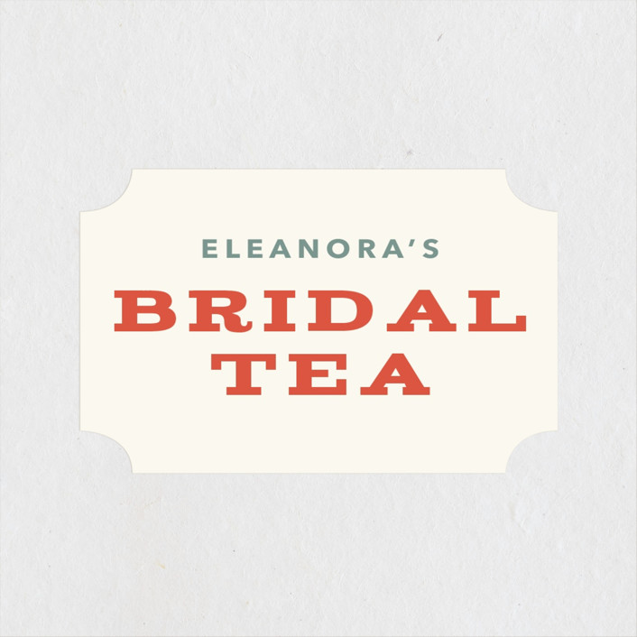 """""""Vintage Bridal Tea"""" - Bridal Shower Stickers in Coral by Laura Moyer."""