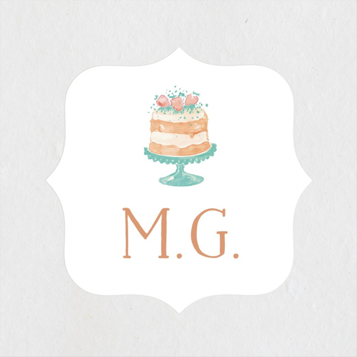 """Princess cake"" - Bridal Shower Stickers in Peach by Benita Crandall."