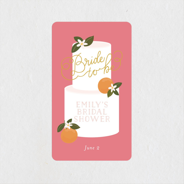 """""""Citrus and  Cake"""" - Bridal Shower Stickers in Coral by Itsy Belle Studio."""