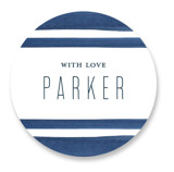 This is a blue custom sticker by Petra Kern called Navy Chic with standard printing on uncoated sticker paper in sticker.