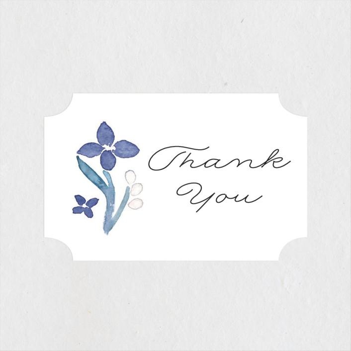 """Floral Frame"" - Bridal Shower Stickers in Cornflower by Liz Conley."