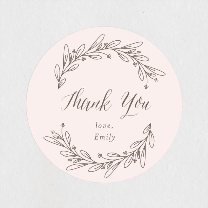 """Bridal Wreath"" - Bridal Shower Stickers in Blush by Shirley Lin Schneider."