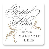 This is a gold custom sticker by Jennifer Postorino called Sweet Bridal Wishes with standard printing on uncoated sticker paper in sticker.