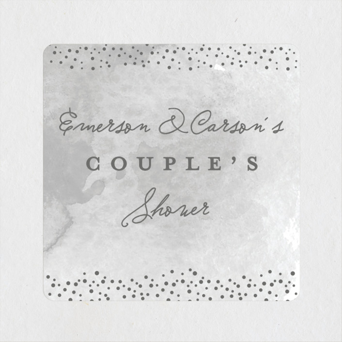 """""""Golden Fleck"""" - Whimsical & Funny Bridal Shower Stickers in Cement by Stacey Meacham."""