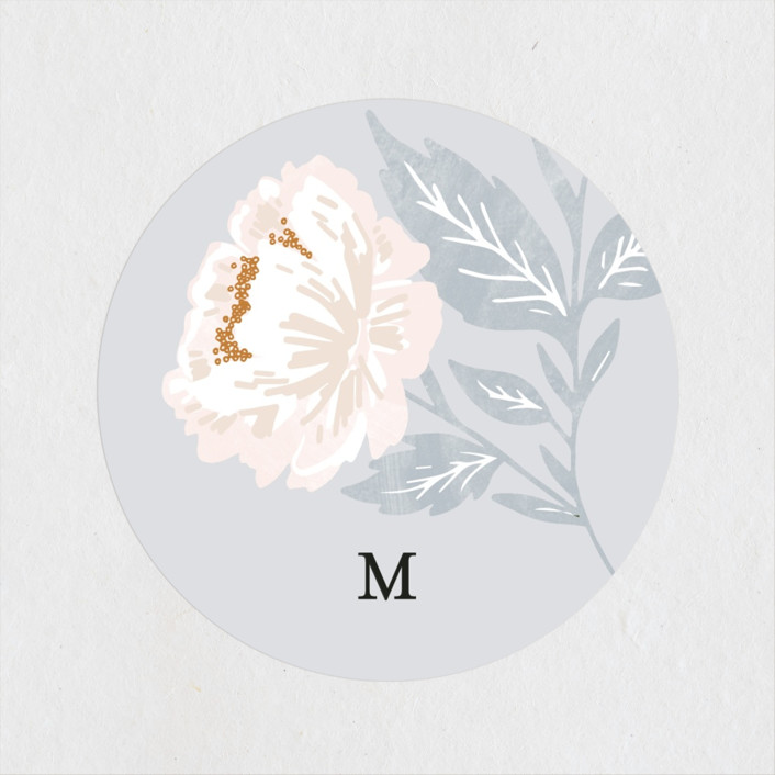 """Peony Floral Frame"" - Bridal Shower Stickers in Cornflower by Alethea and Ruth."