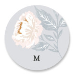 This is a blue custom sticker by Alethea and Ruth called Peony Floral Frame with standard printing on uncoated sticker paper in sticker.