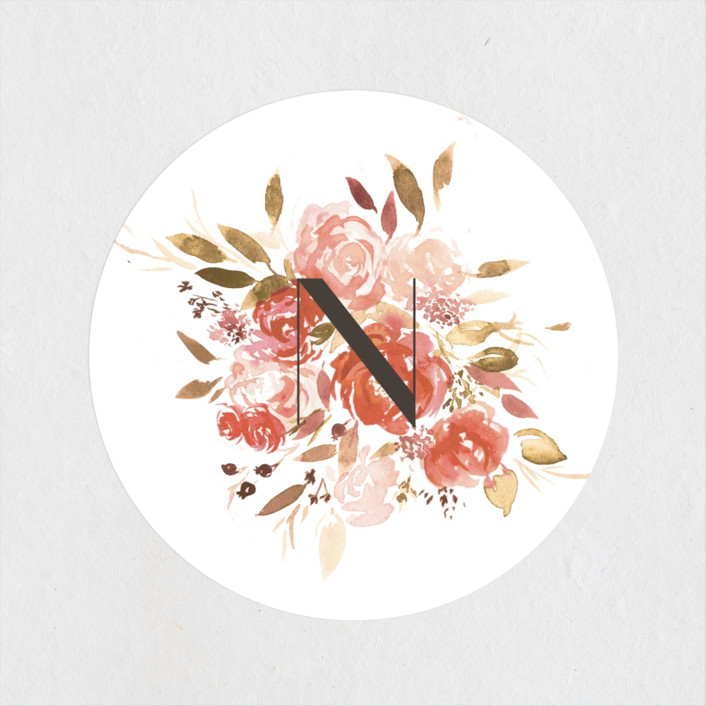 """""""Cascading"""" - Bridal Shower Stickers in Cardinal by Itsy Belle Studio."""