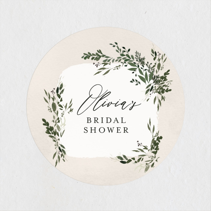 """""""Greenery"""" - Bridal Shower Stickers in Forest by Itsy Belle Studio."""