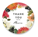 This is a red custom sticker by Susan Moyal called Tropical Brunch with standard printing on uncoated sticker paper in sticker.