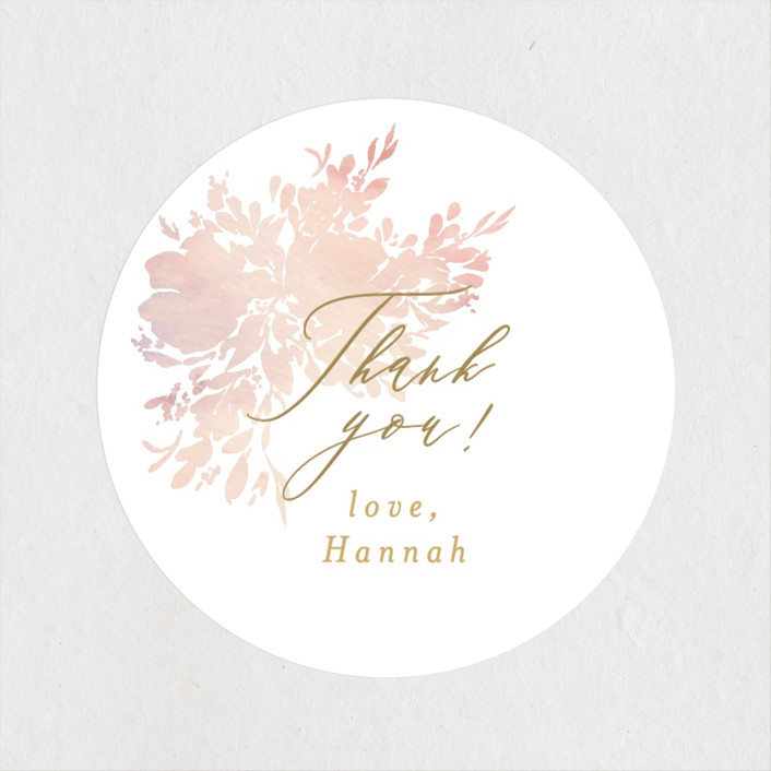 """""""Floral Champagne"""" - Bridal Shower Stickers in Blushing by Itsy Belle Studio."""