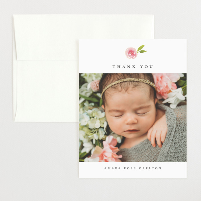 """""""Little Bloom"""" - Flat Birth Announcements Thank You Cards in Rose by Ink and Letter."""