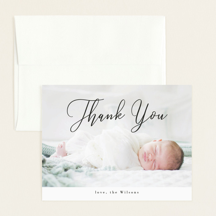 """Formal Script"" - Flat Birth Announcements Thank You Cards in Onyx by Kasia Labocki."